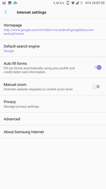 how to open history in samsung internet s8