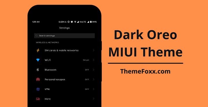 Download Dark Android Oreo MIUI Theme for All MIUI Devices